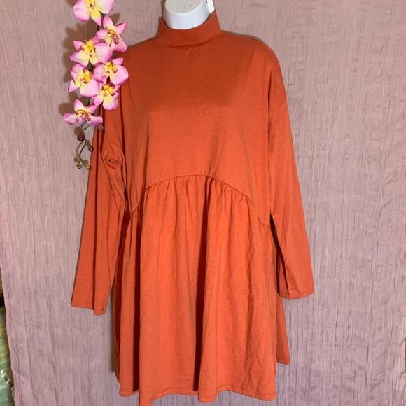 ASOS design high neck smock dress in rust